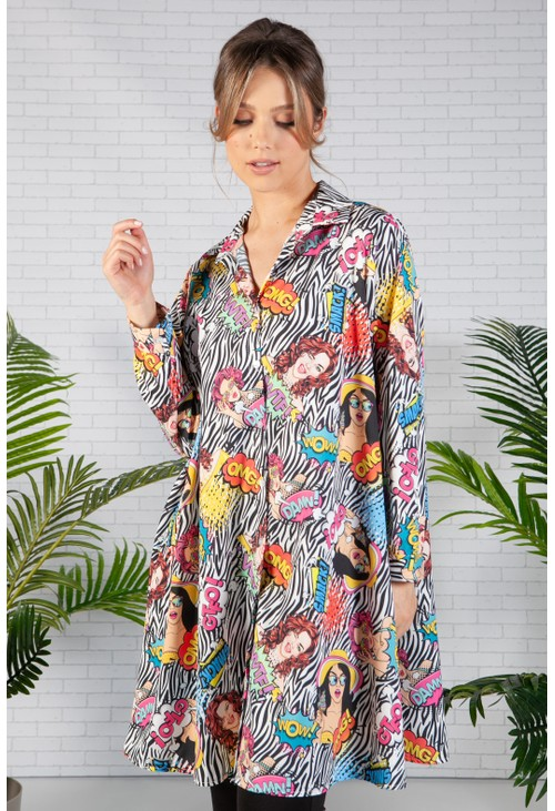 Pamela Scott Zebra Pop Art Print Shirt