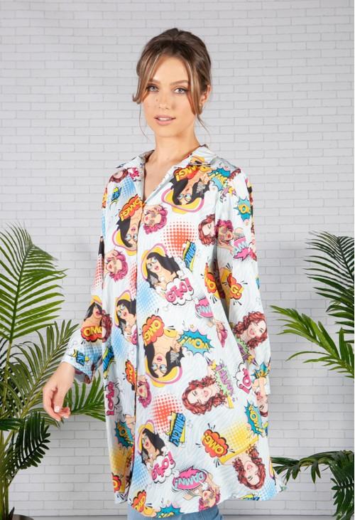 Pamela Scott Sky Blue Pop Art Print Shirt