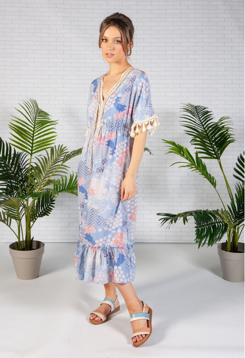 Zapara Blue Vintage Paisley Print Dress