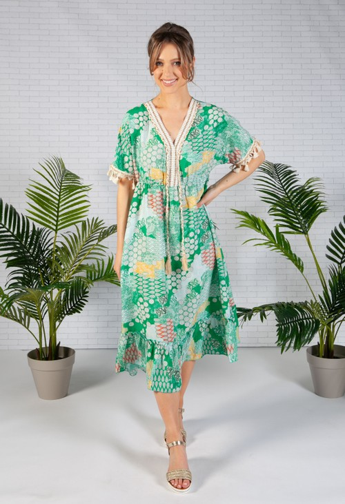Zapara Green Paisley Print Dress