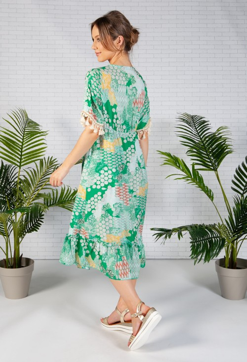 Zapara Green Paisley Print Dress