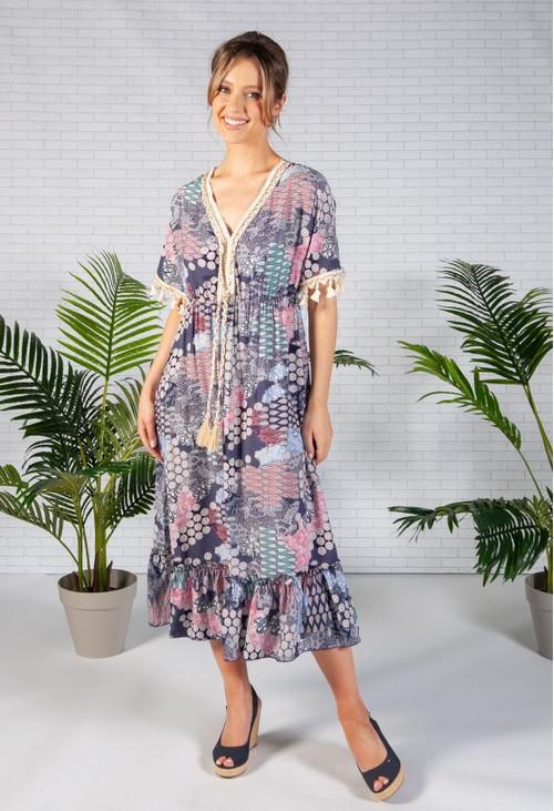 Zapara Navy Paisley Print Dress