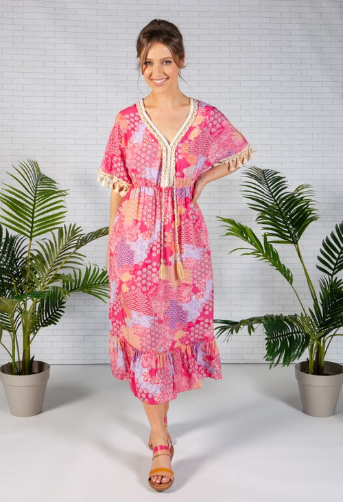 Zapara Fuchsia Vintage Paisley Print Dress