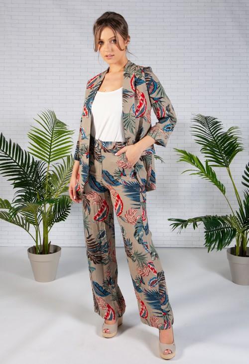 Pamela Scott Deep Beige Palm Print Trousers