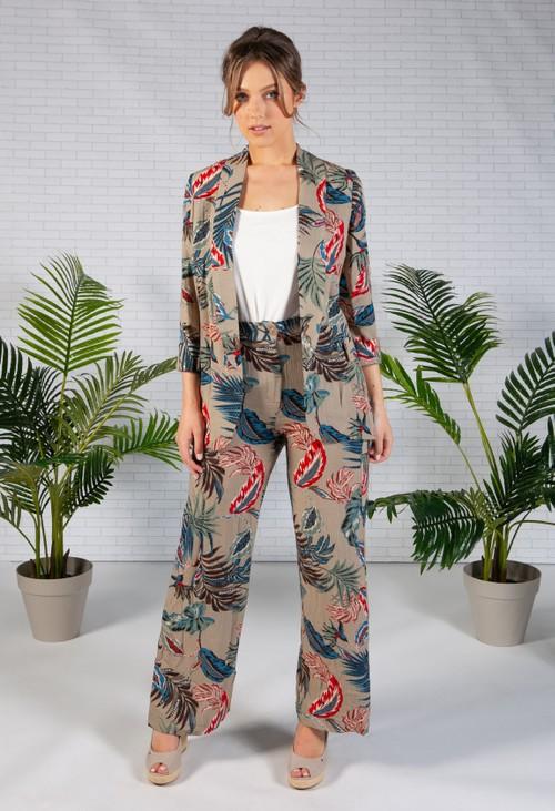 Pamela Scott Deep Beige Palm Print Blazer