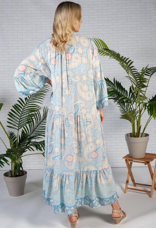 Pamela Scott Sky Blue Moroccan Print Dress
