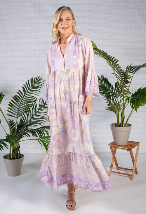 Pamela Scott Lilac Moroccan Print Dress