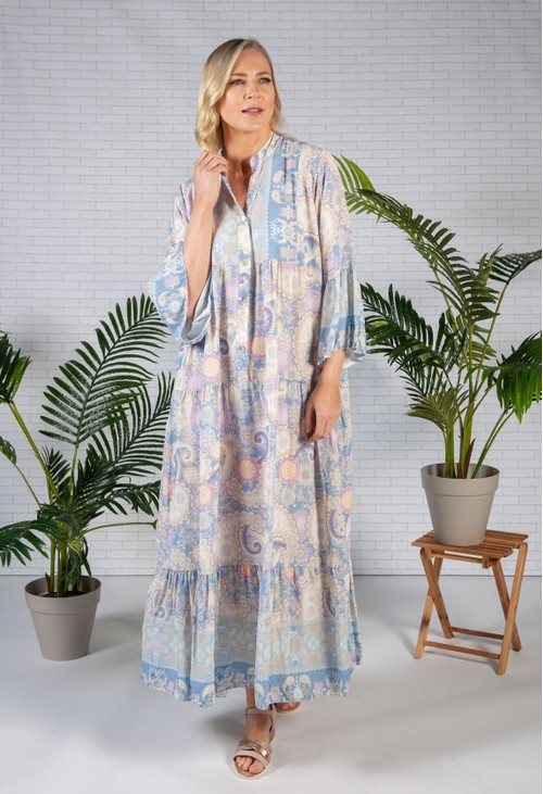 Pamela Scott Blue Haze Moroccan Print Dress