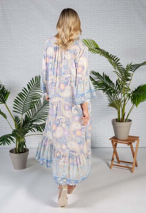 Pamela Scott Blue Haze Moroccan Print Dress