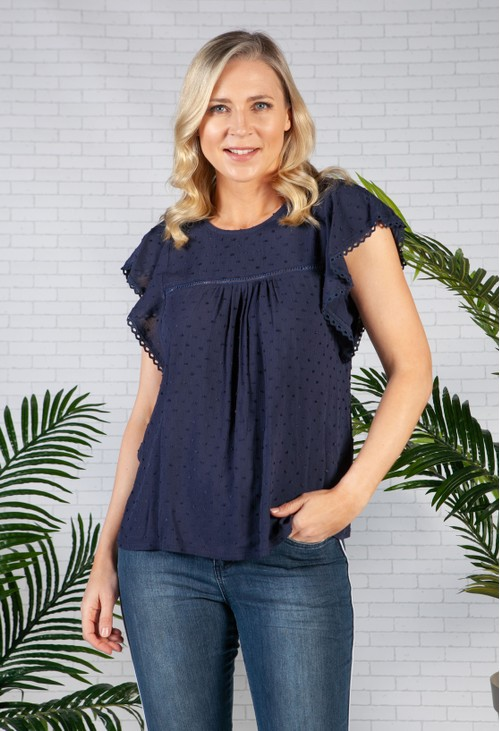 Zapara Lace Trim textured top in Navy