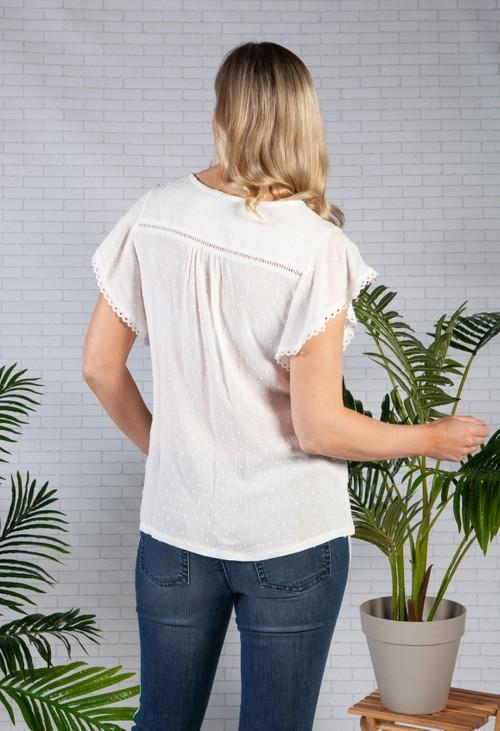 Zapara Lace Trim Textured Top in White