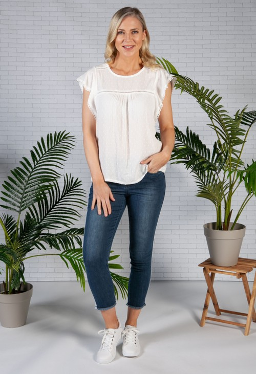 Zapara Lace Trim Textured Top in White