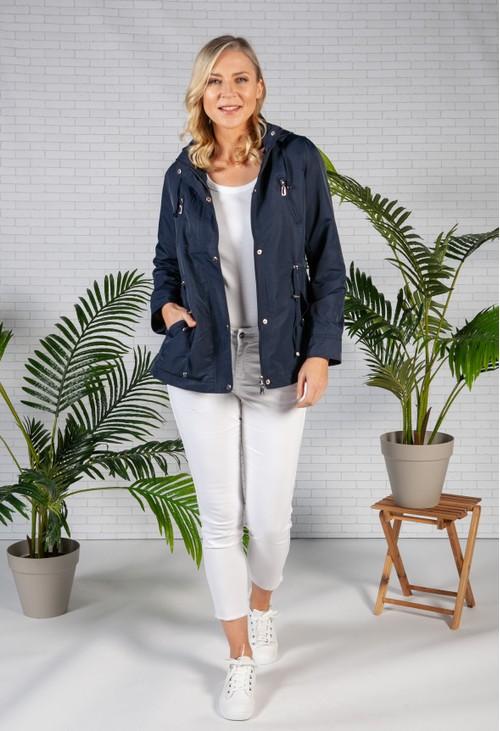Pamela Scott Navy Drawstring Waist Rain Jacket