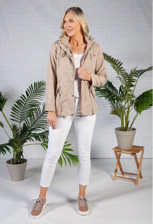 Pamela Scott Toffee Drawstring waist raincoat