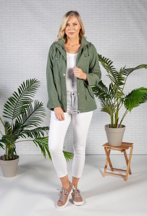 Pamela Scott Khaki Drawstring Waist Rain Jacket