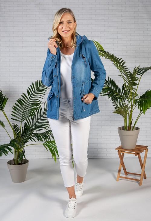 Pamela Scott Denim Drawstring waist jacket