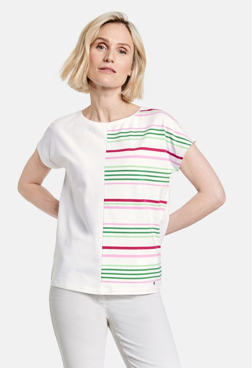 Gerry Weber Organic cotton top with a striped appliqué