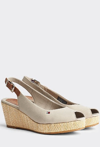 Tommy Hilfiger STONE Iconic Open Toe Sling Back Wedge Heel