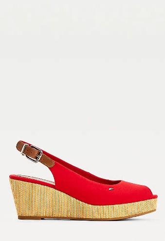 Tommy Hilfiger PRIMARY RED Iconic Open Toe Sling Back Wedge Heel