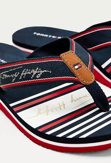 Tommy Hilfiger Signature Logo Flip Flops in Navy