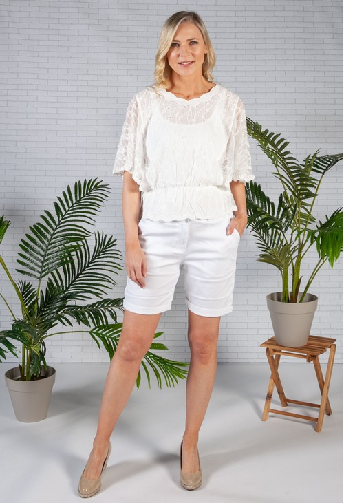 Twist White 5 Pocket Shorts