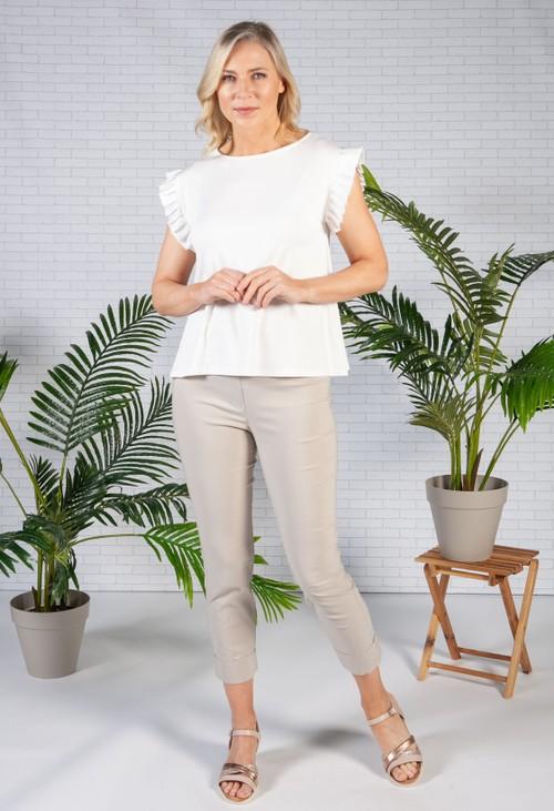 Pamela Scott Cream Frill Sleeve Top