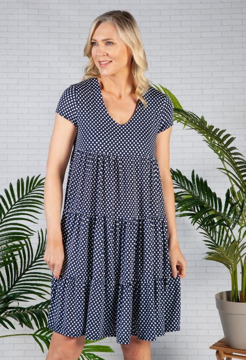 Pamela Scott Polka Dot Tiered Dress