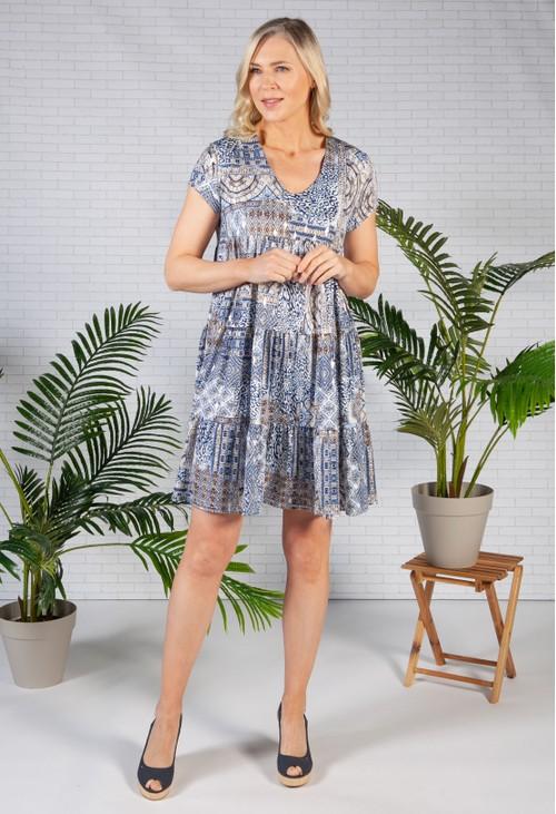 Pamela Scott Aztec print tiered dress