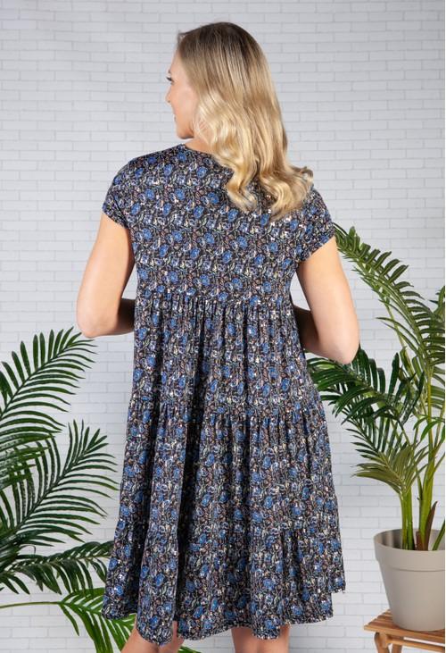 Pamela Scott Royal Blue Floral Tiered Dress