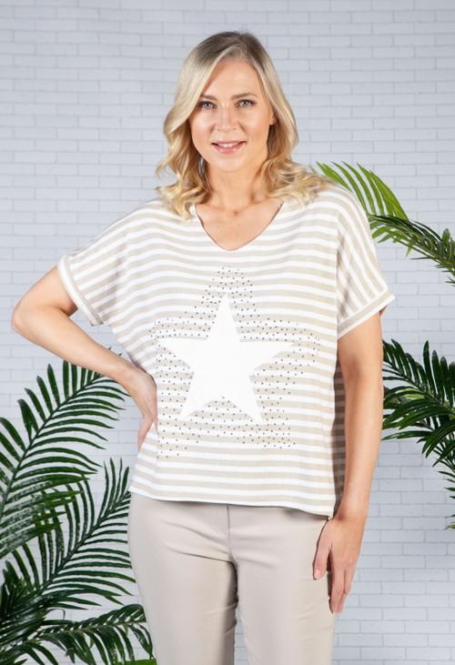 Pamela Scott Star Design Knit Top in Beige