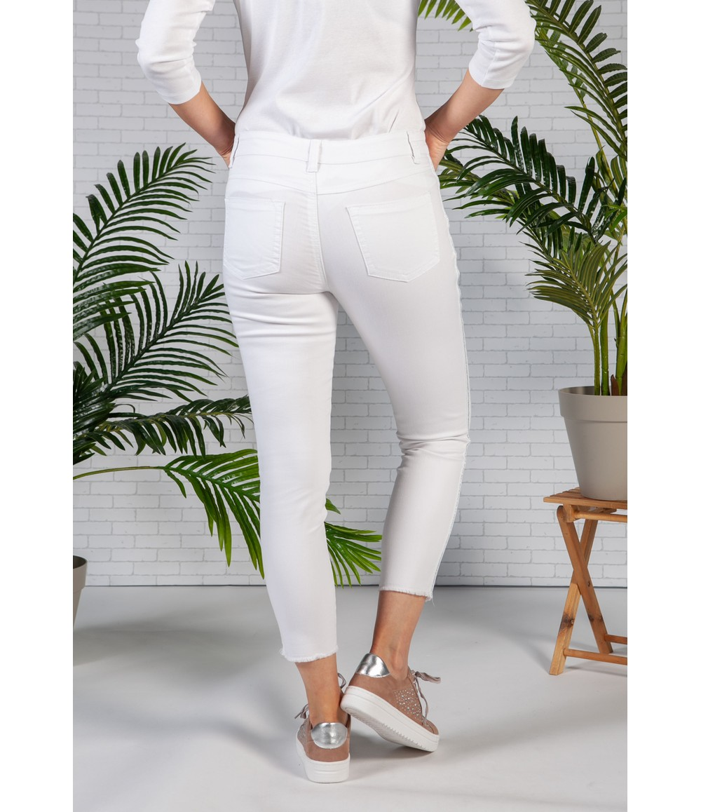 Sophie B White Jeans with Glittered Side Stripe