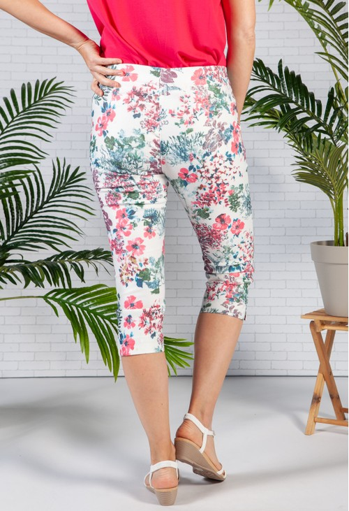 Sophie B Cream Blossom Print capri's