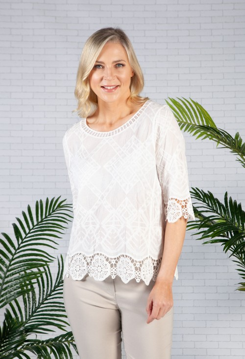 Pamela Scott Cream Lace Design Blouse