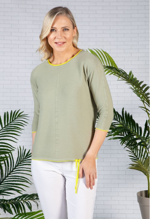 Betty Barclay JUMPER WITH TIE DETAIL IN KHAKI