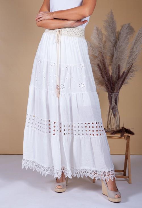 Pamela Scott Floral Embroidered Long Skirt