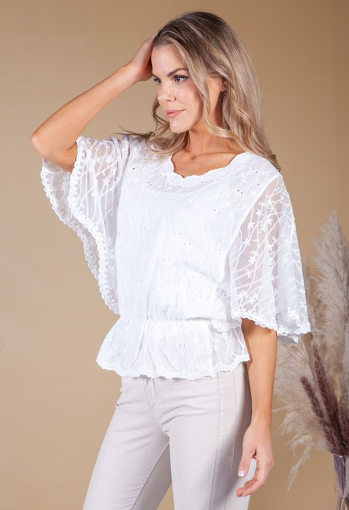 Pamela Scott Sheer Sleeve Embroidered Top