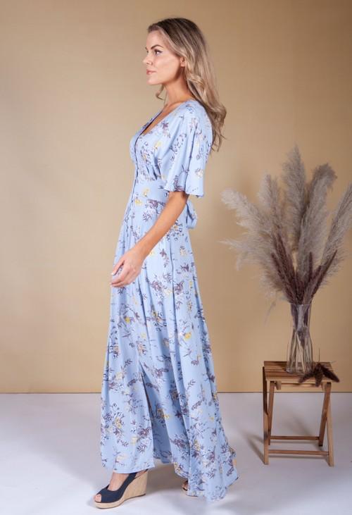 Pamela Scott Wild Flower Print Dress in Blue