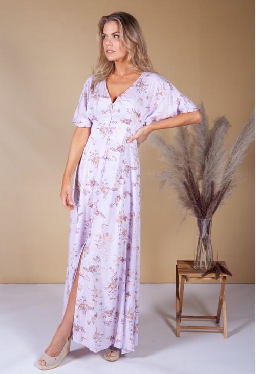 Pamela Scott Wild Flower Print Dress in Lilac