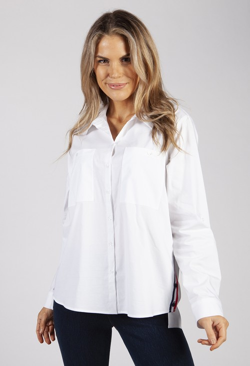 Twist White Shirt with Side Stripe