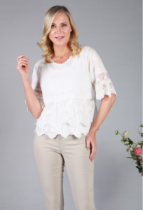 Pamela Scott Lace Embroidered Top