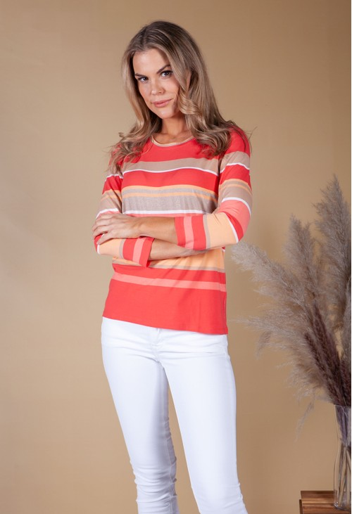 Betty Barclay Coral strip long sleeve top with shimmer detail