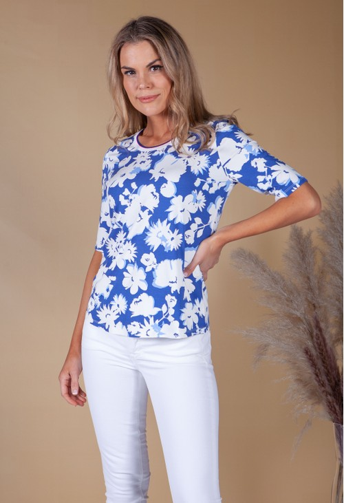 Betty Barclay Floral Print Top with Ribbed Neckline