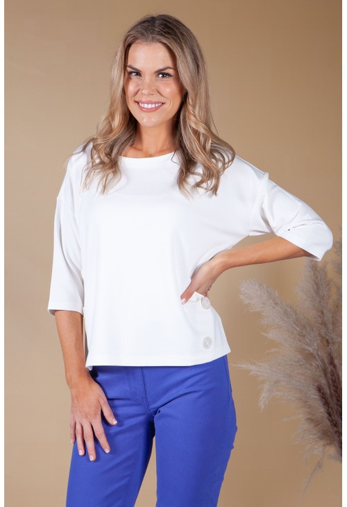Betty Barclay WHITE SWEATER WITH BUTTON SIDE DETAIL