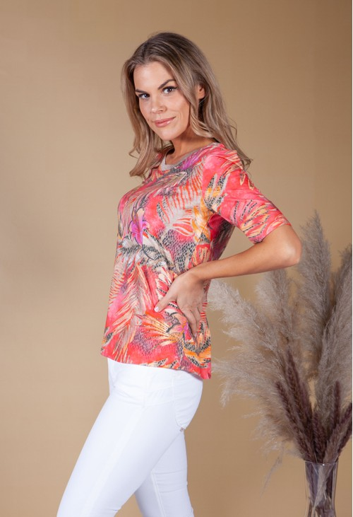 Betty Barclay Leaf Print Top With Shimmer Neckline Coral