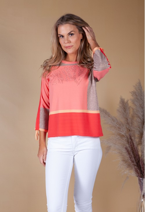 Betty Barclay Colour Block Jumper With Shimmer Detail Coral