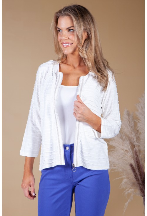 Betty Barclay Off-White Wave Effect Zip Jacket