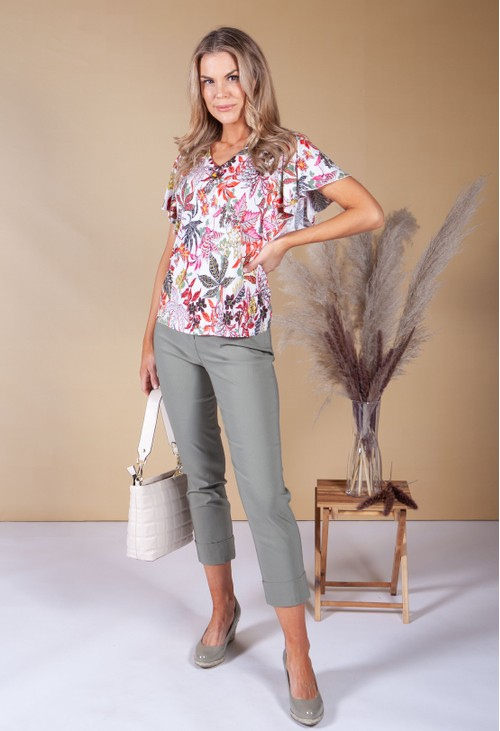 Sophie B White Floral Top with Necklace Detail