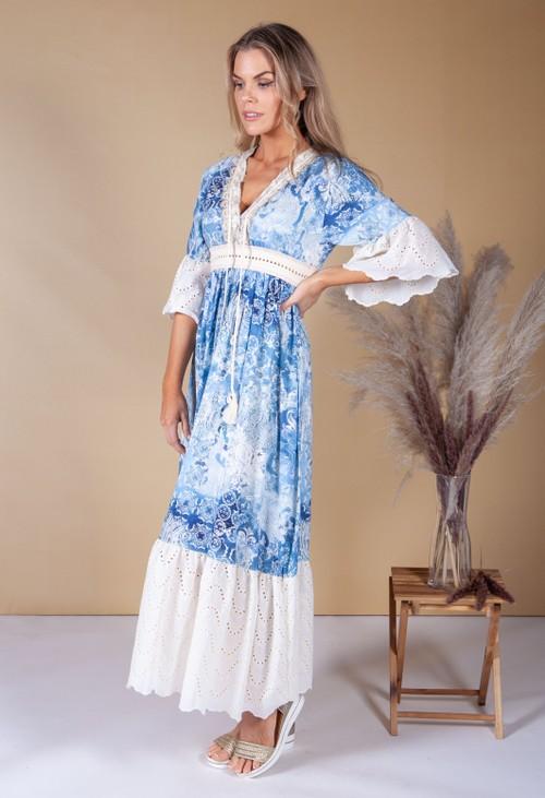 Pamela Scott Sky Blue Paisley boho dress