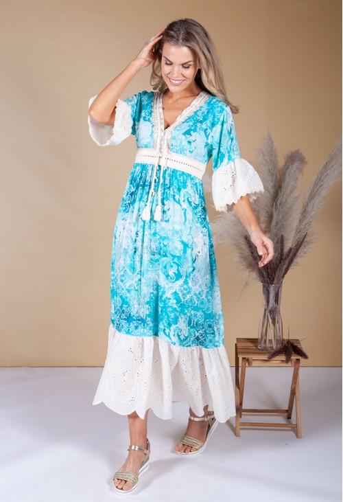 Pamela Scott Aqua Boho Dress