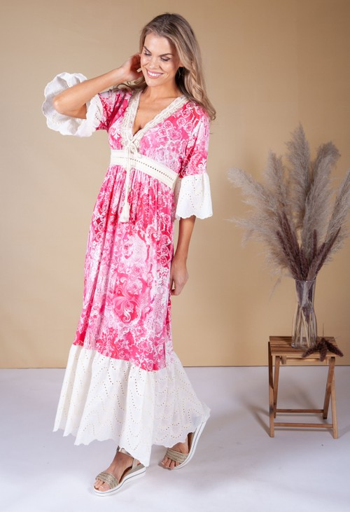 Pamela Scott Magenta Boho Dress